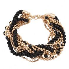 Šperky eshop - Náramok - zatočená čierna špirála zo šnúrok, retiazky zlatej farby, korálky U20.12
