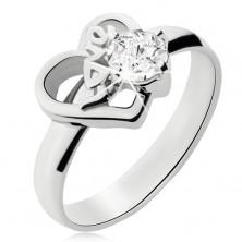 Oceľový prsteň s čírym kamienkom, obrys nesúmerného srdca, Love