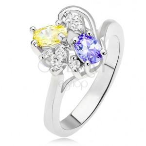 Prsteň s fialovým a žltým oválnym kamienkom, číre zirkóny