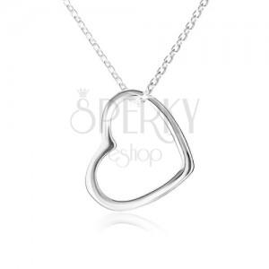 Náhrdelník - kontúra súmerného srdca, ligotavá retiazka, striebro 925
