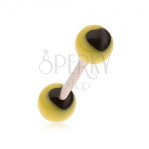 Piercing do jazyka z chirurgickej ocele, žlté guličky, čierne srdcia