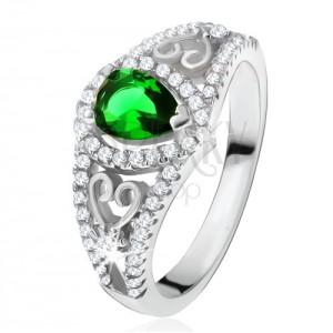 Prsteň zo striebra 925, zelený slzičkový kameň, číre zirkóny, obrysy sŕdc