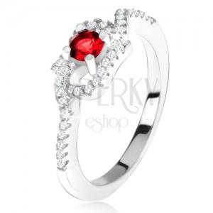 Strieborný 925 prsteň, červený kamienok, zatočené zirkónové ramená