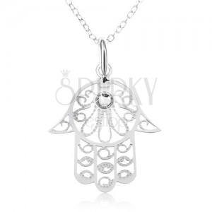Strieborný 925 náhrdelník - retiazka z oválnych očiek, ruka Fatimy, číry zirkón