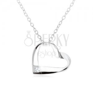 Strieborný 925 náhrdelník, prúžok zatočený do kontúry srdca, číry zirkón