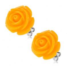 Oceľové náušnice, žltý kvet ruže zo živice, puzetové zapínanie, 20 mm