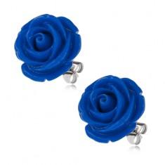 Oceľové náušnice, tmavomodrý kvet ruže, puzetové zapínanie, 20 mm