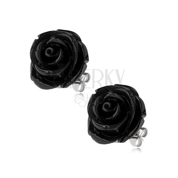 Oceľové náušnice, čierny živicový kvet ruže, puzetové zapínanie, 20 mm