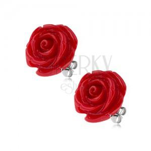Oceľové puzetové náušnice, lesklý červený živicový kvet ruže, 14 mm