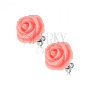 Náušnice z ocele, kvet ruže, ružová farba, puzetové zapínanie, 14 mm