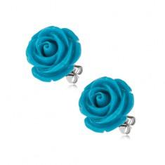 Puzetové náušnice z chirurgickej ocele, modrá rozkvitnutá ruža, 14 mm
