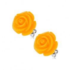 Oceľové puzetové náušnice, lesklý živicový kvet ruže žltej farby, 14 mm
