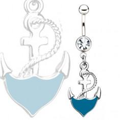 Oceľový piercing do pupka - modrá kotva s lanom, číry kamienok