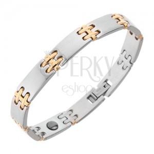 Oceľový náramok na ruku, matné články, lesklé H spoje zlatej farby, magnety