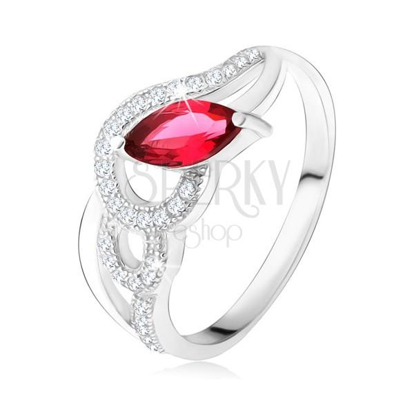Strieborný 925 prsteň, zirkónové a hladké vlny, červený zrniečkový kameň