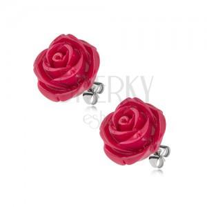 Puzetové náušnice z chirurgickej ocele, bordový kvet ruže zo živice, 14 mm