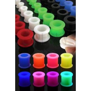 Farebný silikónový tunel do ucha so zvýšenými okrajmi