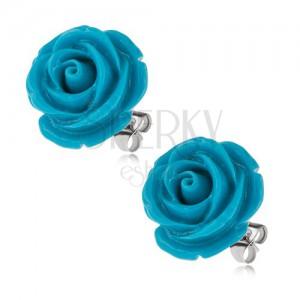 Náušnice z chirurgickej ocele, modrý živicový kvet ruže, 20 mm
