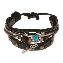Náramok na ruku - čierny vybíjaný pás kože, šnúrky, valčeky, korálky, kľúčik