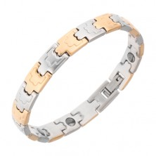 Náramok z ocele, magnety, matné články, zlatá a strieborná farba, 8 mm