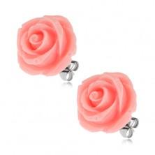 Puzetové oceľové náušnice, ruža zo živice, ružová farba, 20 mm