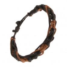 Dvojfarebný pletený náramok, čierna a orieškovohnedá šnúrka, nastaviteľný