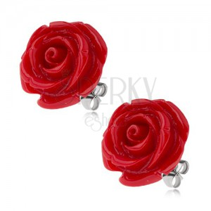 Náušnice z chirurgickej ocele, červený živicový kvet ruže, 20 mm