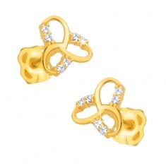 Šperky eshop - Náušnice v žltom 9K zlate - ligotavý keltský uzol, číre kamienky GG31.02