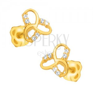 Náušnice v žltom 9K zlate - ligotavý keltský uzol, číre kamienky