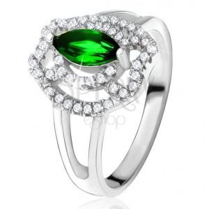 Prsteň so zeleným zrniečkovým kameňom, zirkónové oblúky, striebro 925