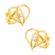 Náušnice zo žltého 9K zlata - obrys srdca, prekrývajúce sa ramená, zirkón