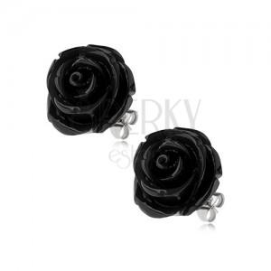 Náušnice z ocele, čierna farba, kvet ruže, puzetové zapínanie, 14 mm