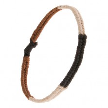 Pletený náramok zo šnúrok, pásy čiernej, hnedej a krémovobielej farby