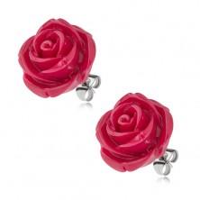 Puzetové oceľové náušnice, ruža zo živice, bordová farba, 20 mm