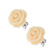 Náušnice z ocele, krémová farba, kvet ruže, puzetové zapínanie, 14 mm