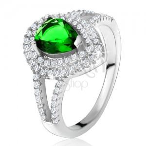 Prsteň so zeleným slzičkovým kameňom, dvojitý číry lem, striebro 925