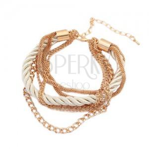 Náramok - zatočená perleťová špirála zo šnúrok, retiazky zlatej farby