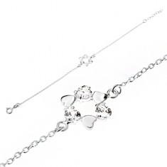 Šperky eshop - Retiazka na ruku zo striebra 925, kruh zo súmerných sŕdc, číre zirkóny SP02.30