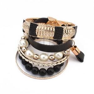Multináramok - čierne a perleťové korálky, kožený pás, obrúčky zlatej farby