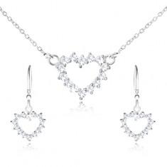 Šperky eshop - Set zo striebra 925 - náhrdelník a visiace náušnice, zirkónový obrys srdca T19.17
