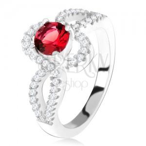 Strieborný 925 prsteň, červený okrúhly kameň, zatočené zirkónové ramená