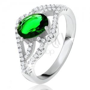 Prsteň s oválnym zeleným kameňom, zvlnené zirkónové ramená, striebro 925
