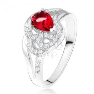 Prsteň zo striebra 925, rubínový slzičkový kameň, zvlnené zirkónové línie