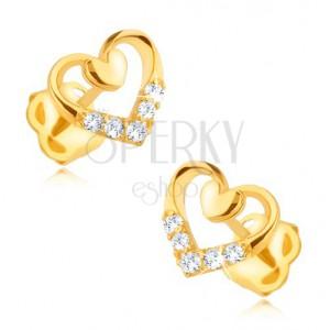 Zlaté náušnice 375 - pravidelný obrys srdca s menším plným, zirkóny