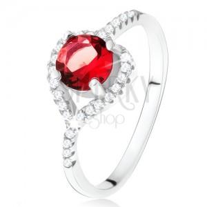Prsteň s asymetrickým zirkónovým srdcom, červený kameň, striebro 925