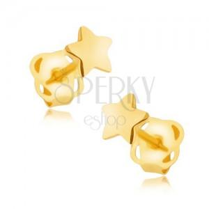Náušnice v žltom 9K zlate - zrkadlovolesklá päťcípa hviezdička