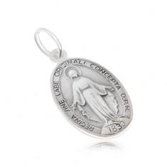 9ece10120 Šperky eshop - Oválny medailón s Pannou Máriou, matný, zo striebra 925 SP02.