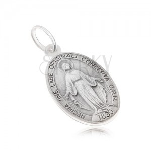Oválny medailón s Pannou Máriou, matný, zo striebra 925