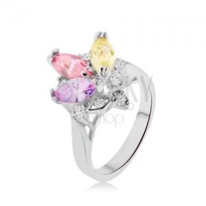 Lesklý prsteň - farebné zrniečkové kamienky v kotlíku, číre zirkóniky, korunka