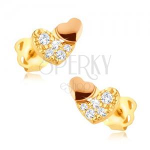 Ligotavé zlaté náušnice 375 - zirkónové srdce so zlatoružovým srdiečkom